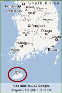 Map of Korea highlighting the island of Jeju